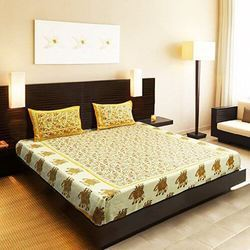 31cfa6ae3c Pure Cotton Printed Cotton Sanganeri Print Yellow King Size Bedsheet