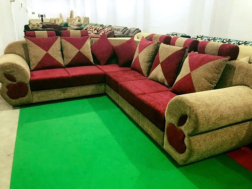 Eden Maroon & Sandal L Shaped Corner Sofa, Rs 24999 /number | ID ...