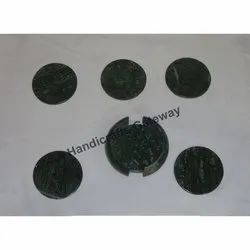Plain Green Marble Coaster Set