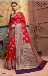 Beautiful Red Color Banarasi Silk Pallu Saree
