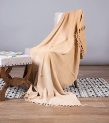 Golden Solid Cotton Sofa Throw