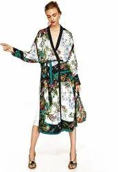 Printed Tie Front Beach Kimono