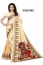 Khadi Cotton Silk Printed Saree With Blouse