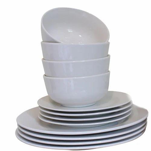 White Ceramic Plain Crockery Rs 50 Set Total Hospitality