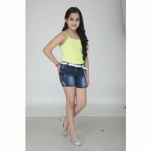 Tensy Faded Kids Girls Dark Blue Denim Shorts Rs 350 Piece Youth Star Id 19289735212