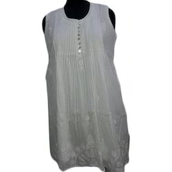 Sleeveless Cotton Chikankari Short Kurti, Size: XL, S and M