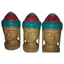 Hand Made Wooden Buddha Head With Gemstone Work