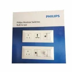6a 10a 13a 16a 20a 25a 2 Pin Socket Philips Modular Switch and Sockets, Switch Size: 1 Module, 240VAC