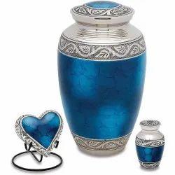 Sapphire Blue Brass Cremation Urn