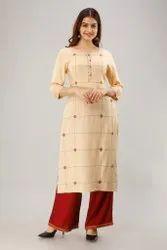 Casual Wear Ladies Straight 3/4th Sleeve Rayon Dobby Kurti