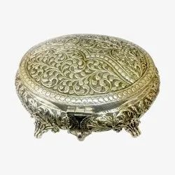 Round Silver Dry Fruit Box