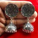 Oxidized Ganesha Engraved Mantra Jhumka Earrings For Girls