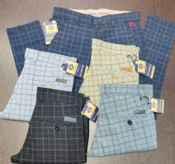 Ankel Fit Casual Check Pattern Cotton Pants