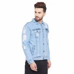 Full Sleeve Blue Ice Destroyed Denim Jacket