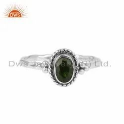 Chrome Diopside Gemstone Antique Oxidized Silver Ring Jewelry