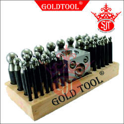 Gold Tool 36 Pieces Dapping Punch Set With Domming Block & Wooden Stand