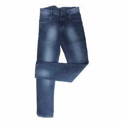 Blue Stretchable Washed Dobby Jeans, Waist Size: 28-36