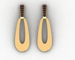 Long Hanging Stylish Brown Diamond Earring In Yellow Gold