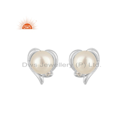 White Rhodium Plated Silver Cz Pearl Heart Design Stud Earring Jewelry