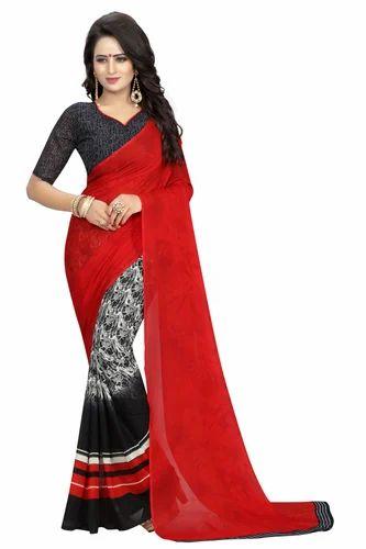 c200f192ec Georgette Red & Black Printed Saree, Length: 5.5 M, Rs 295 /piece ...