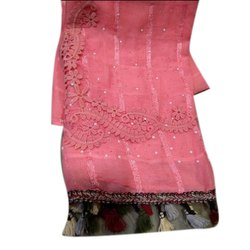 G.A.D. Net Ladies Pink Embroidered Lace Stole, Packaging Type: Packet