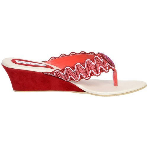 0a89fb1d14c6 Ethnoware Wedges Women Red Wedge Heeled Thong Sandals