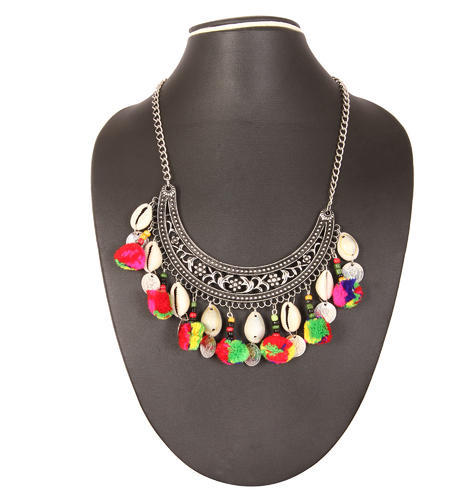 Adoreva Garba Navratri Woolen Gota Necklace For Women