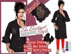 Rayon Stone Butta Pattern Bell Sleeves Kurti