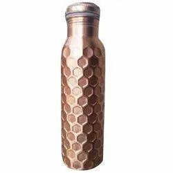 Shivang Enterprises Golden Hammered Copper Water Bottle, Screw Cap