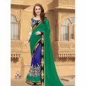 Ladies Georgette Green Printed Saree, Saree Length: 5.5 M