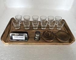 Pine Wood Snacks Set with Shot Glasses