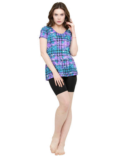 81cc34c445f25 Blue Women Frock Style Half Sleeves   Shorts Printed Swimsuit