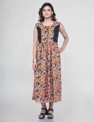 Rust Muslin Sleeveless Printed Flared Kurti, Size: XL & XXL