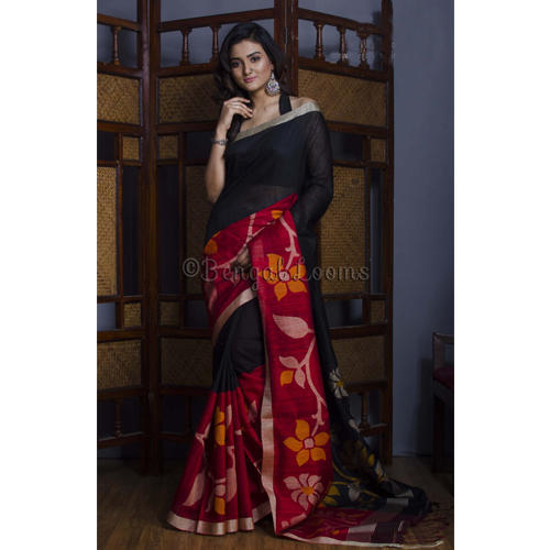 25fd040302 Premium Quality Handwoven Skirt Border Tussar Jamdani Saree in Black and Red.  Get Best Quote