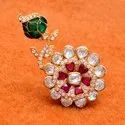 Designer Polki Ring crafted in 925 Sterling Silver with High Gold Plating