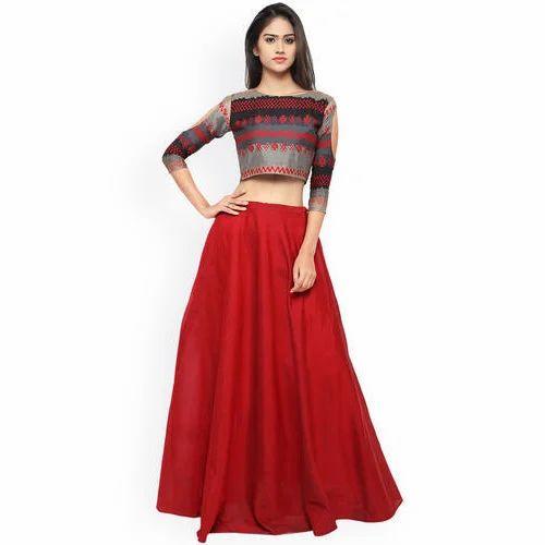bdff667e2751f Geette Red Lehenga Choli Rs 1000 Set Pawar Fashion. Unique Sleeveless Black Crop  Top Side Skirt Twinset ...
