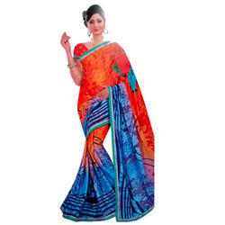 Mutlicolour Printed Polyester Synthetic Sarees