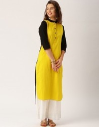 Women Yellow and Black Solid Kurti
