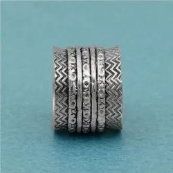 925 Sterling Silver Meditation Wide Band Ring