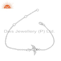 Flying Bird Charm 925 Sterling Fine Silver Chain Bracelet Jewelry