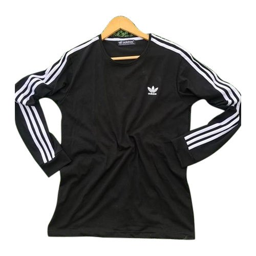 Round Black Mens Adidas Full Sleeves T-Shirt