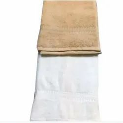 Jasmine White and Brown Cotton Dyed Terry Towels, Rectangular, 550-650 GSM