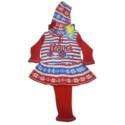 Girls Kids Woolen Hooded Frock Suit