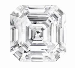 White Asscher Cut Moissanite Stone