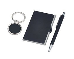 Black Card Holder, Pen, Key Ring  Set