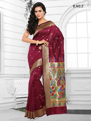 Maroon Cotton Silk Sarees