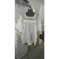 White oem Mexican Cotton Embroidered Top