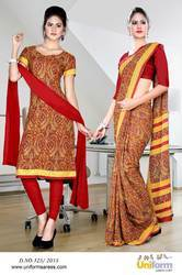 Maroon and Brown Italian Crepe Uniform Saree Kurti Combo
