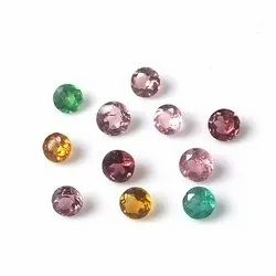 Natural Multi Tourmaline Faceted Round Loose Gemstone