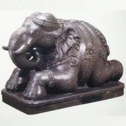 Grey Carved Stone Elephant for Decoration, Size: 2 Feet